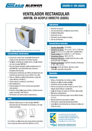 Catálogo de Ventiladores Centrífugos de Caracol Cuadrado - D51 SW (SQDS)
