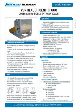 Catálogo de Ventiladores Airfoil de Doble Entrada - D51 DW
