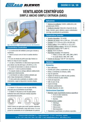 Catálogo de Línea de Ventiladores Centrífugos Airfoil - D51 SW y D51B SW